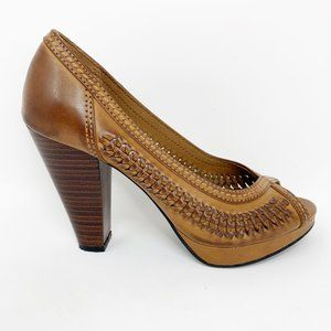 American Eagle Brown Braided Leather Pumps SZ 6.5